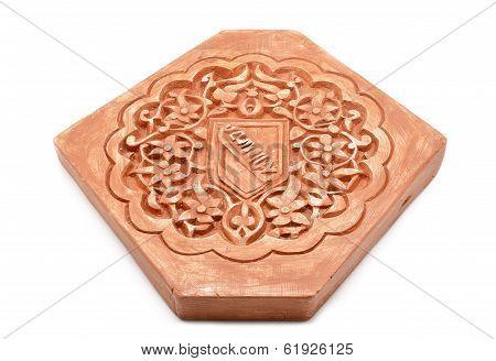 Arabic decoration plastering Alhambra style with Nazari shield