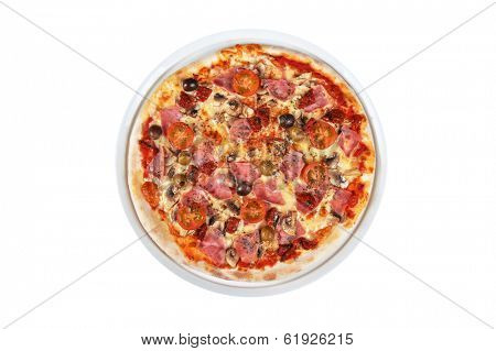 pizza with ham and mushrooms isolated on white