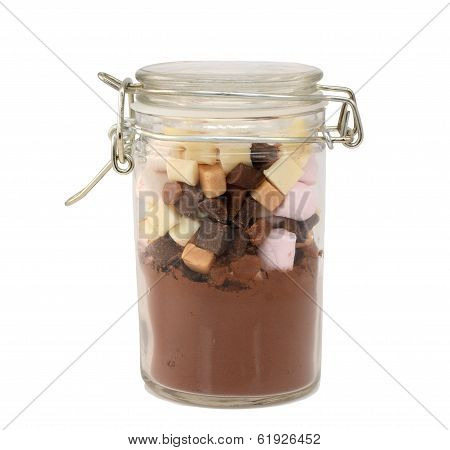 Ingredients For Hot Chocolate In A Glass Jar