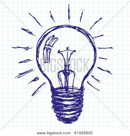 Lamp vector idea sketch background drawn with pen sketch