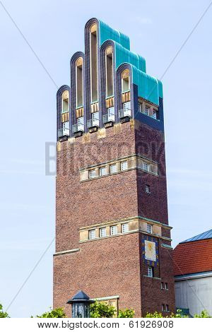 Vintage Looking Hochzeitsturm Tower At Kuenstler Kolonie Artists Colony In Darmstadt Germany