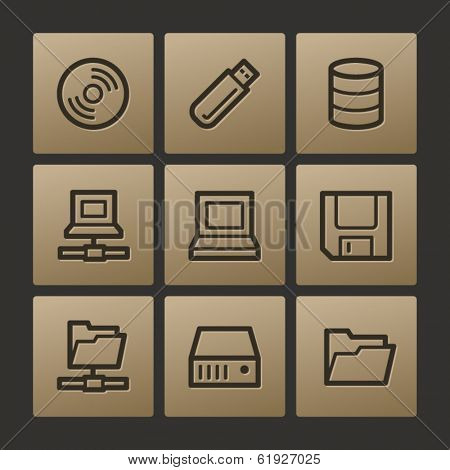 Drive storage web icons, buttons set