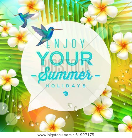 Speech bubble with summer greeting and hummingbirds against a  tropical nature background - vector illustration