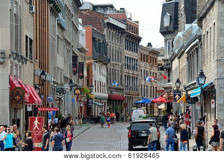 MONTREAL, CANADA - SEP 8: City old street view on September 8, 2012 in Montreal, Canada. It is the largest city in Quebec, the second-largest in Canada and the 15th-largest in North America.