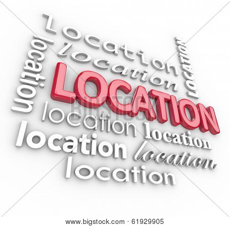Location 3D Word Collage Background Best Area Place