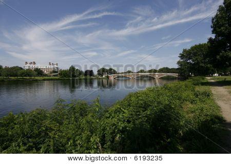 River Sky and Bridge at harvard university in cambridge massachusetts