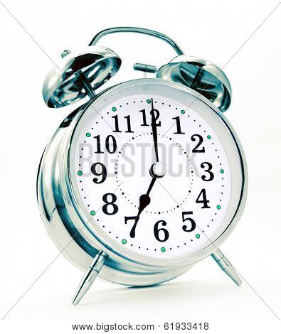 retro alarm clock on white