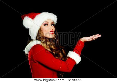 Young Woman Dessed As Santa