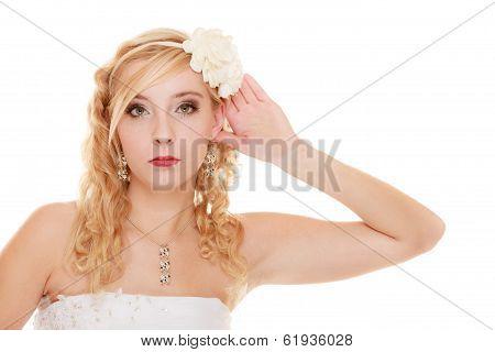 Wedding. Bride Girl With Hand Behind Ear Listening