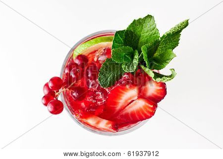 Healthy Red Berry Cocktail With Mint Garnish. On White Background. Top View.