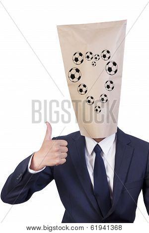 Businessman Cover Head Love Football