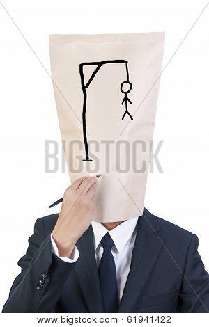 Businessman Cover Head Failure