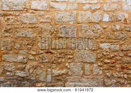 Menorca castle stonewall ashlar masonry wall texture antique in Balearic islands
