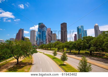 Houston Texas Skyline with modern skyscrapers and blue sky view from road