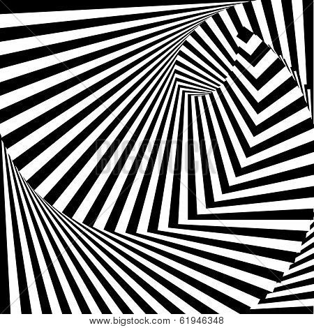 Design Monochrome Vortex Movement Illusion Background. Abstract Strip Lines Torsion Volumetric Backd