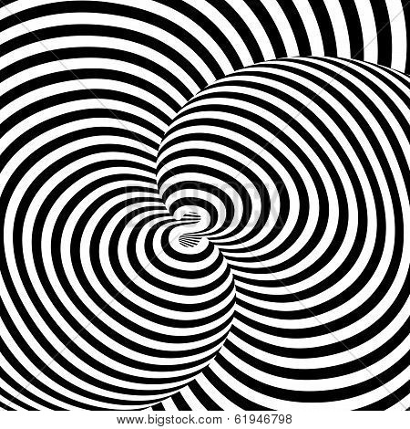 Design Monochrome Swirl Movement Illusion Background. Abstract Strip Torsion Backdrop