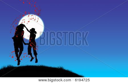 Couple Dancing In Moonlight