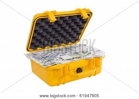 Czech Money In Yellow Plastic Case