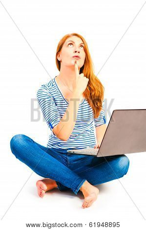 Female 25 Years Old Thought With A Computer
