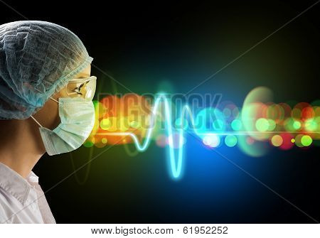 female doctor in protective mask and glasses