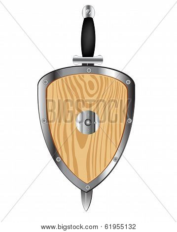 Wooden shield and weapon