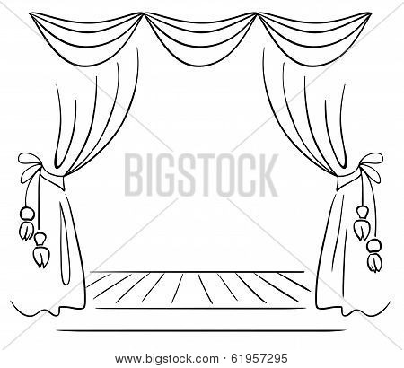 Theater stage vector sketch