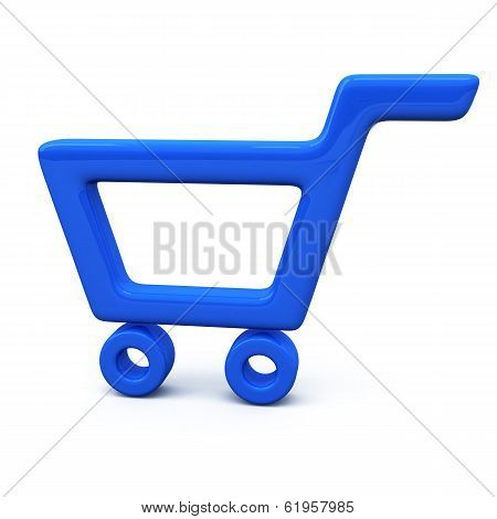 Blue shopping cart icon, 3d
