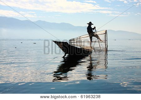 Fisherman Catches Fish For Food