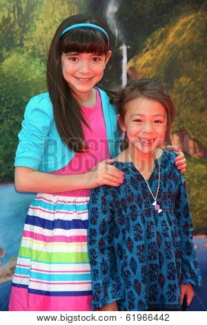 LOS ANGELES - MAR 22:  Chloe Noelle, Aubrey Anderson-Emmons at the Pirate Fairy Movie Premiere at Walt Disney Studios Lot on March 22, 2014 in Burbank, CA