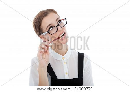 Thoughtful Beautiful Woman With Glasses Isolated On White