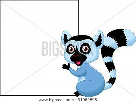 Cute lemur cartoon holding blank sign