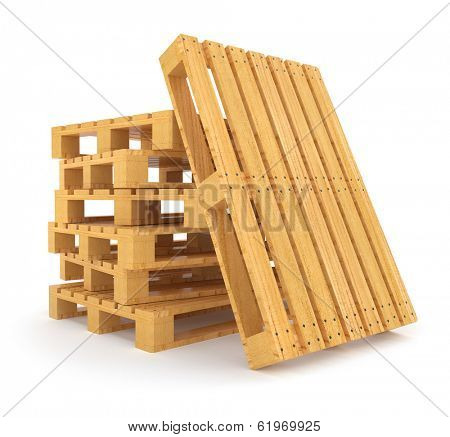 Pile of wooden pallets. 3d rendered illustration. Isolated on white background. Clipping path included
