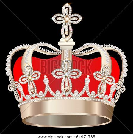 Crown With Pearls And Crosses On Black Background