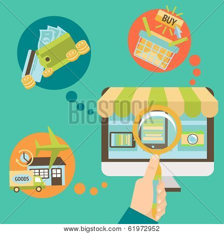 Business hand searching online shop
