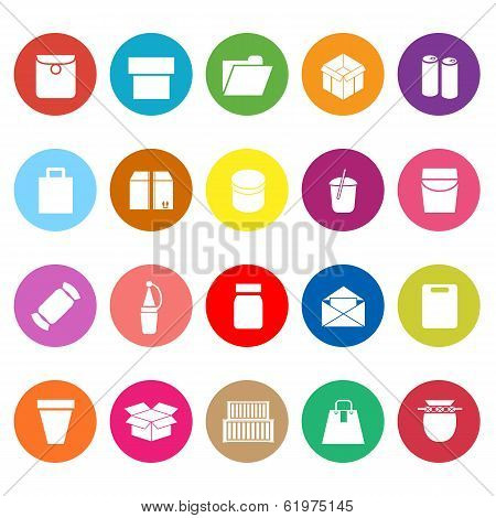 Package Flat Icons On White Background
