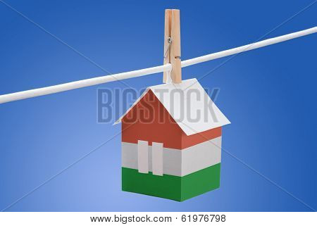 Hungary, Hungarian flag on paper house