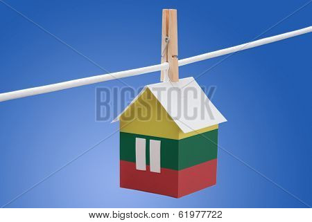 Lithuania, Lithuanian flag on paper house