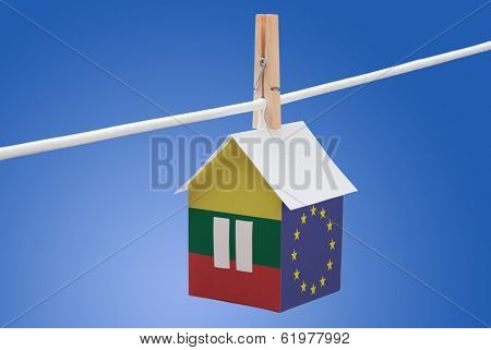 Lithuania, Lithuanian and EU flag on paper house