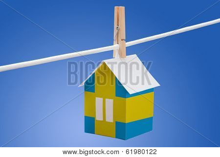 sweden, swedish flag on paper house