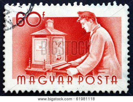 Postage Stamp Hungary 1955 Postman Emptying Mail Box