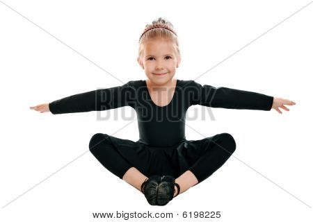 Girl Performs Gymnastic Exercise