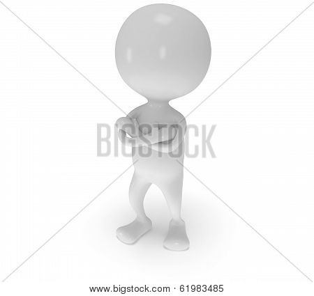 3d white man stand with folded arms.
