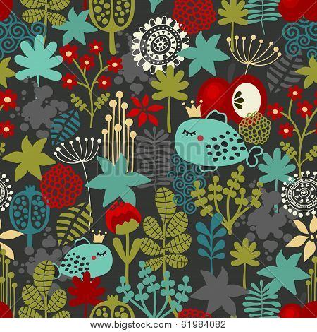 Seamless pattern with fantastic flora and fish.