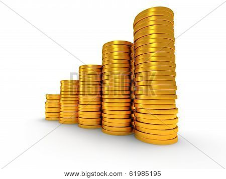 Pile of golden coin as stairs