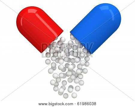Opened red blue pill capsule with white granules
