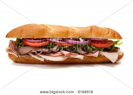 Submarine Sandwich On A White Background