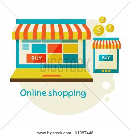 online shopping. Sale, Laptop and smart phone with awning.
