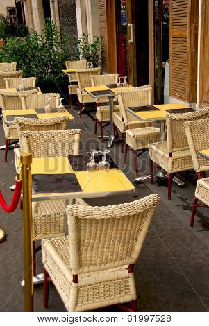 Outdoor patio of a cafe in Paris France