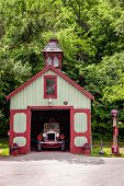 LORETTO, KENTUCKY - JUNE 01, 2013: Image of antique fire station on the grounds of Makers Mark bourb