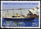 AUSTRALIA - CIRCA 1983: A Stamp printed in Australia shows the HMY Britannia